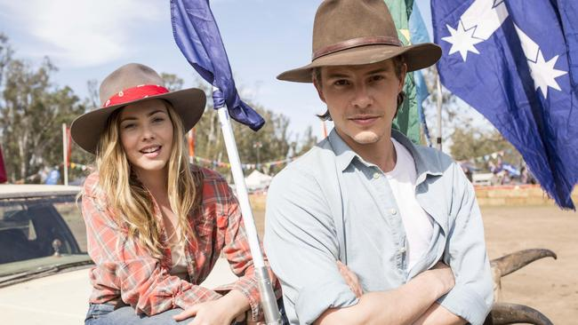 Country strong ... Morgan Griffin and Xavier Samuel bring a staple of Aussie country life — the B&S Ball — to the big screen in Spin Out. (Sony Pictures)