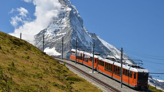 Gornergrat train and Matterhorn mountain.