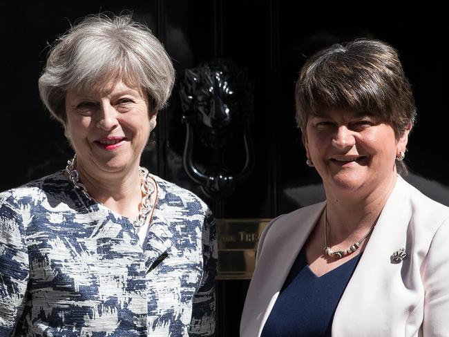 UK PM Theresa May and DUP leader Arlene Foster in happier times when the DUP backed the Conservatives to form a minority government. Picture: Carl Court/Getty Images