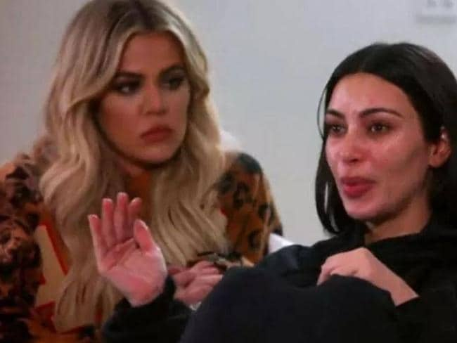 Kim Kardashian tells sister Khloe Kardashian that she thought the robbers were going to shoot her in the back. Picture: Supplied