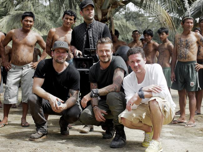 Derek White, Anthony Mandler, David Beckham and Dave Gardner in the Amazon.