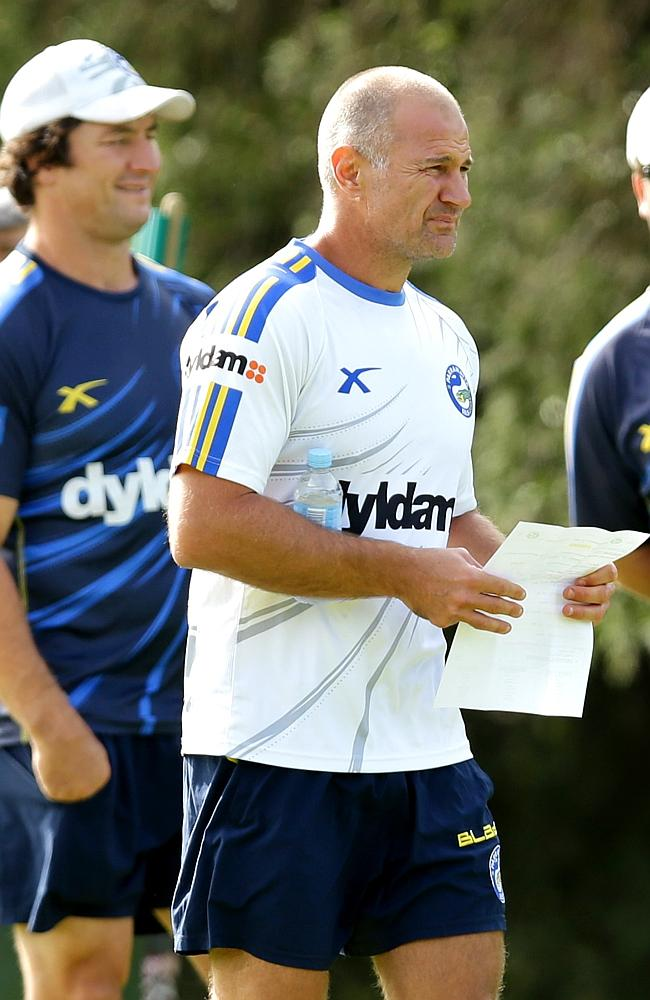 Coach Brad Arthur during warm up of Eels training.