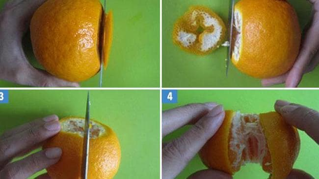 The simple hack to peeling an orange without the mess.