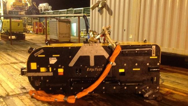 Recovered tow fish on deck of Havila Harmony. Pic: ATSB photo by John Bethea