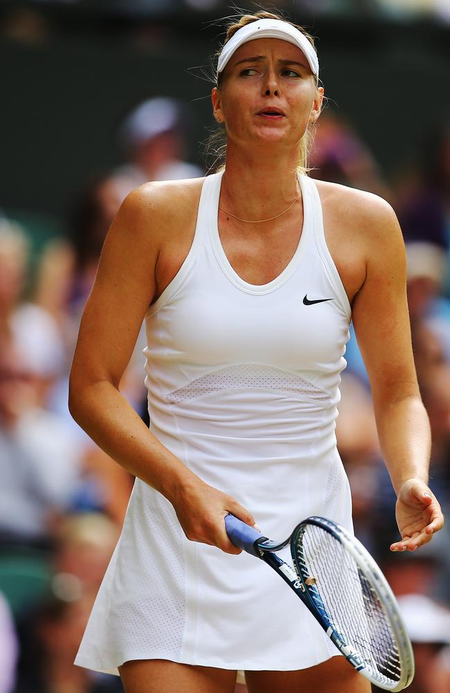 Maria Sharapova looks worried.