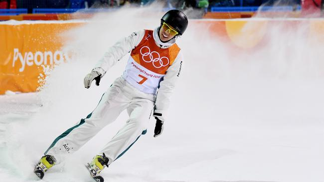 Laura Peel of Australia celebrates during the Freestyle Skiing Ladies' Aerials Qualification on day six of the PyeongChang 2018 Winter Olympic Games. Picture: David Ramos/Getty Images
