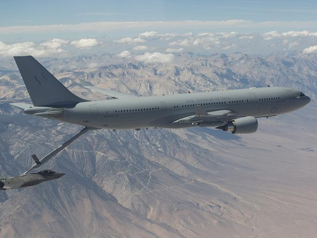 Milestone ... One of the air force's five KC-30A multi-role tanker transport planes conducted 59 successful hook-ups with the F-35A at Edwards air force Base in California, including five where about 20,000 kgs of fuel was transferred during the four-hour-long mission. Picture: Supplied