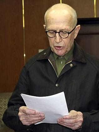 John Short reads outs his apology at an unknown location in North Korea.