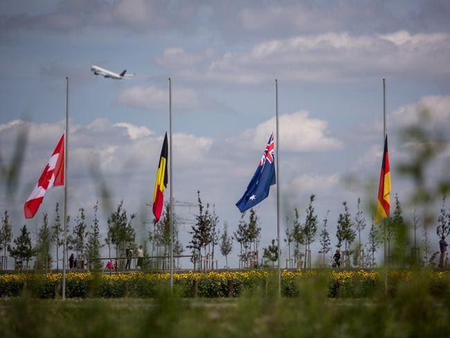 Flags at the MH17 memorial. Picture: Supplied