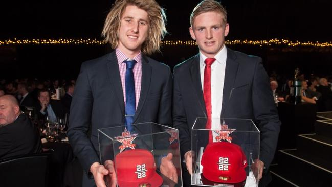 2013 22Under22 captain Dyson Heppell with vice-captain Jack Ziebell.