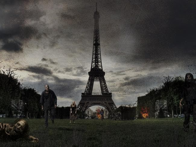 Zombies stalk the Eiffel Tower. Photo: DesignCrowd.com.au