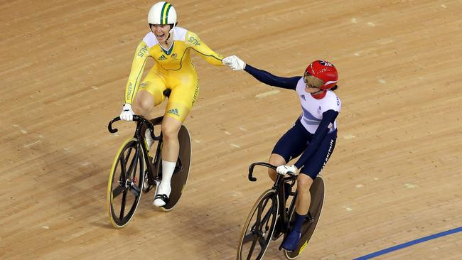 Anna Meares and Victoria Pendleton share a moment after their duel in London.