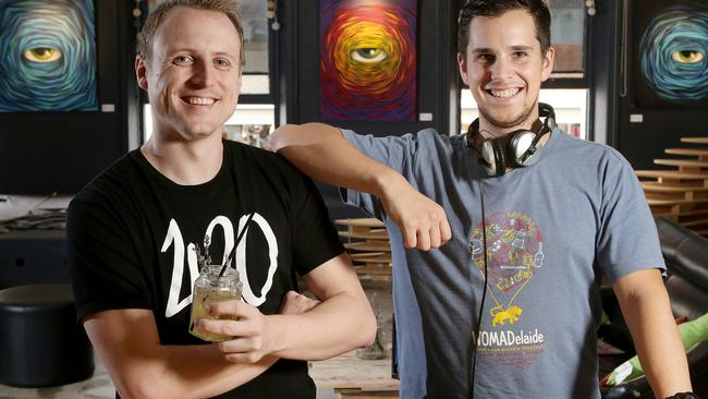 Adam Daze is pictured with Todd Skipper at their new venue, Soundpond, an arts, music and hangout hub on Rundle St. Picture: Calum Robertson.