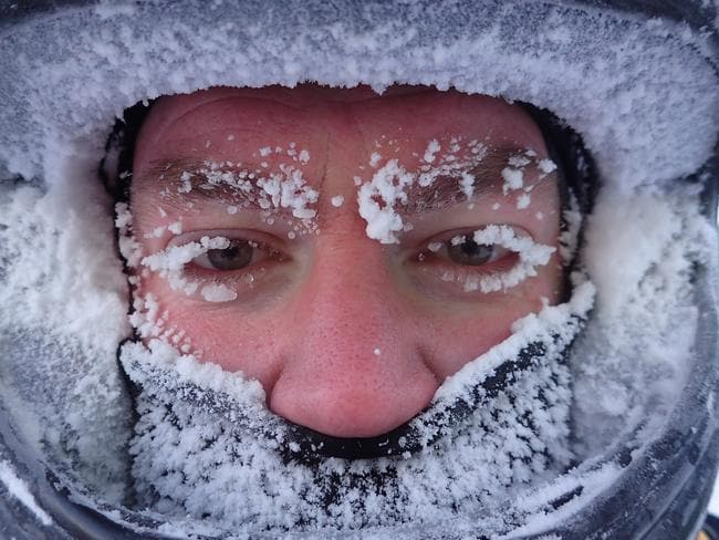 Brendan Hopkins in the field in Antarctica, where the temperature was minus 37 degrees — minus 48 degrees with the windchill factor. Picture: Jan Wallace /Australian Antarctic Division
