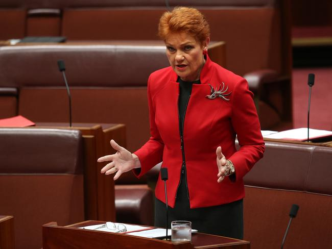 "Gay marriage being made legal will ""open up a can of worms"" that could include polygamy and underage marriages being made legal in Australia, Pauline Hanson has warned. Picture: Kym Smith"
