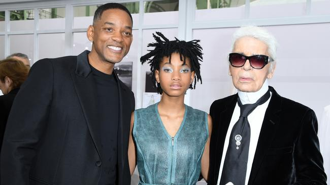 Will and Willow Smith with Karl Lagerfeld at Paris Fashion Week, 2016. Picture: Pascal Le Segretain / Getty Images.