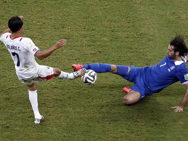 The challenges are flying in now. Costa Rica leads Greece 1-0.