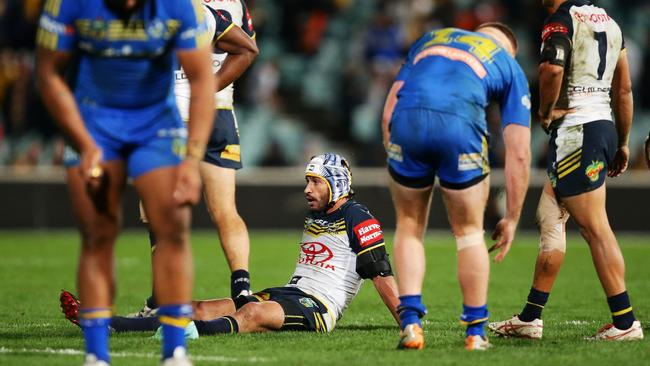 A dejected Johnathan Thurston at full-time.