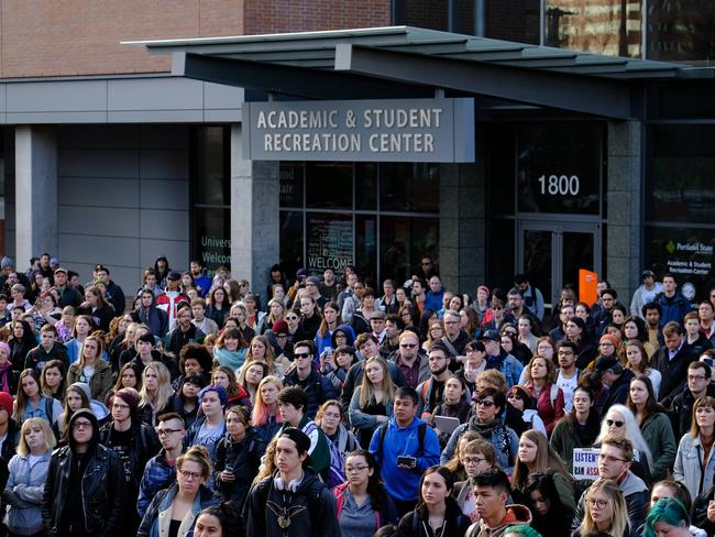 St. Marys Academy high school students take part in a walkout as part of a nationwide action against gun violence in Portland, Oregon. Picture: Alex Milan Tracy/Sipa USA/MEGA