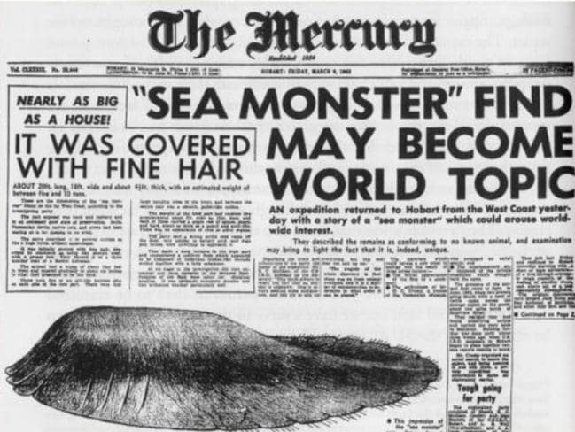 The Tasmanian Globster made the front page of The Mercury in 1960.