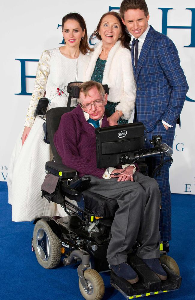 The scientist at the premiere of The Theory of Everything with ex-wife Jane, with whom he is now on good terms, as well as British actors Felicity Jones and Eddie Redmayne. Picture: AFP Photo / Justin Tallis