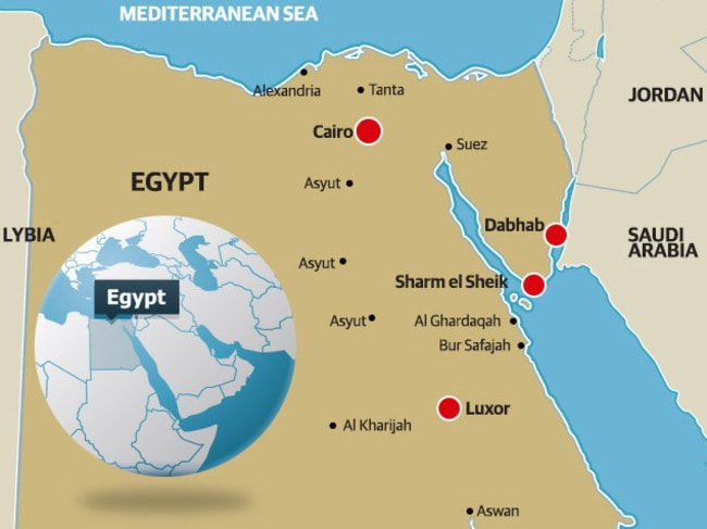 Killers at large ... a map showing terror targets Luxor, Sharm el Sheik and Dabhab.