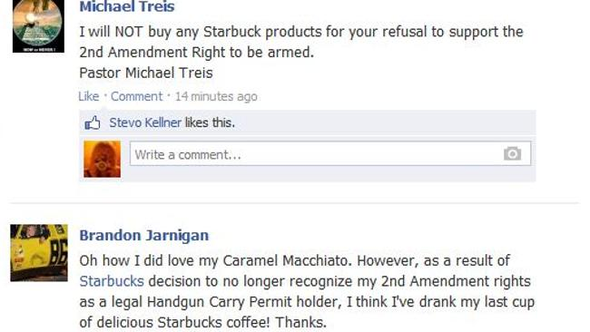Reaction from customers on the Starbucks Facebook page.