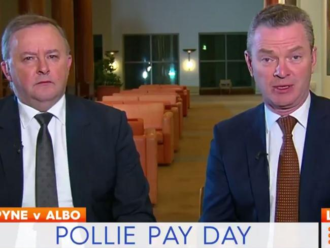 Anthony Albanese and Chris Pyne justify their pay increase on Today. Picture: Channel 9
