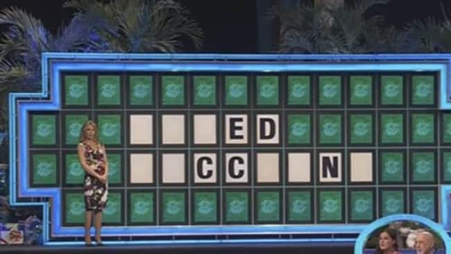 The letters left for the final Wheel of Fortune clue on the US game show. Picture: Supplied