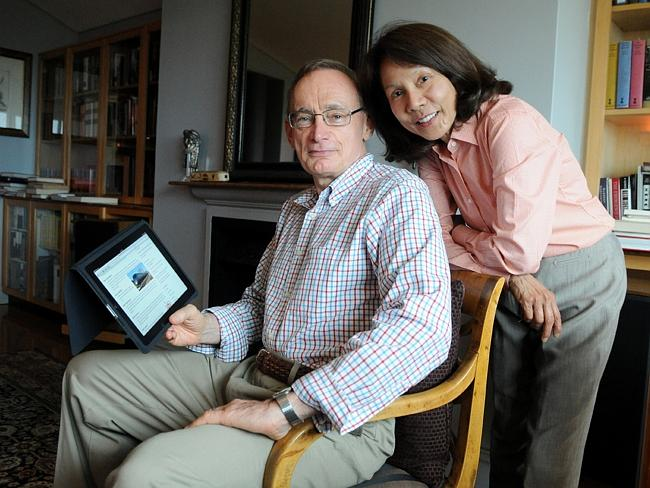 Former NSW Premier Bob Carr and his wife Helena at their home in Sydney. Picture: Dan Himbrechts