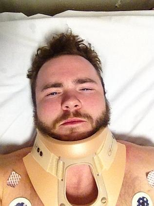 Brad Guy recovers from his skydive fall to earth in the Alfred Hospital.