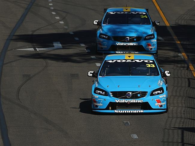 Volvo drivers Scott McLaughlin (front) and Robert Dahlgren during practice for the Clipsal 500.