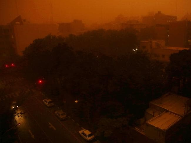 The heavy dust storm hit Iran's capital Tehran with a speed of 110 kilometres per hour.