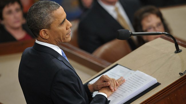 US President Barack Obama delivers his State of the Union address before a joint session of Congress on February 12, 2013 at the US Capitol in Washington. AFP PHOTO/Mandel NGAN