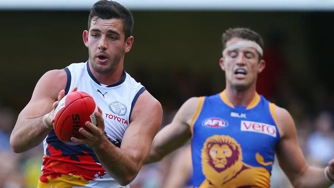 Crows forward Taylor Walker kept his cool to kick six goals against Brisbane on Sunday. Why was coach Brenton Sanderson so hot and bothered? asks Michelangelo Rucci. Picture: Chris Hyde.