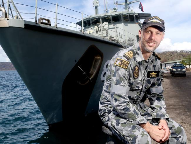 \In search of the last wreck of ... HMAS Yarra CO Lieutenant Commander Brendan O'Hara on his ship in Rabaul Harbour, Papua New Guinea. Picture: Calum Robertson