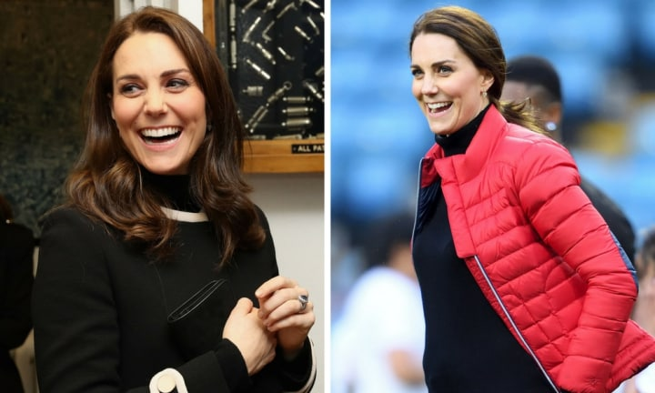 The Duchess of Cambridge shows off growing bump during soccer kickabout