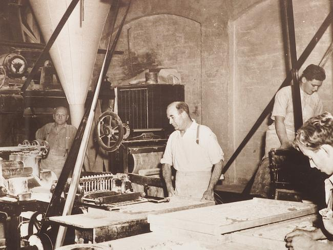 Workers inside the W Menz & Co factory in the 1930s