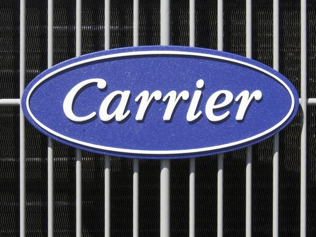 The Carrier logo is seen on an air conditioning unit in Omaha, Nebraska. Picture: AP