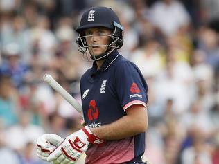England's Joe Root walks off after being bowled LBW by South Africa's Wayne Parnell during the third One Day International cricket match between England and South Africa at Lord's cricket ground in London, Monday, May 29, 2017. (AP Photo/Kirsty Wigglesworth)