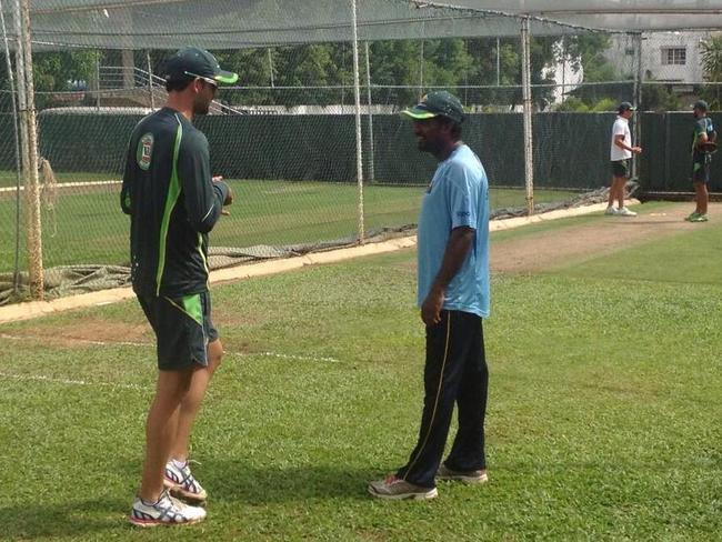 Nathan Lyon and Muttiah Muralitharan work together in the nets. Picture: Cricket Australia