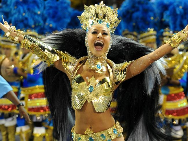 The Carnival parades at the Sambadrome in Rio de Janeiro, Brazil.
