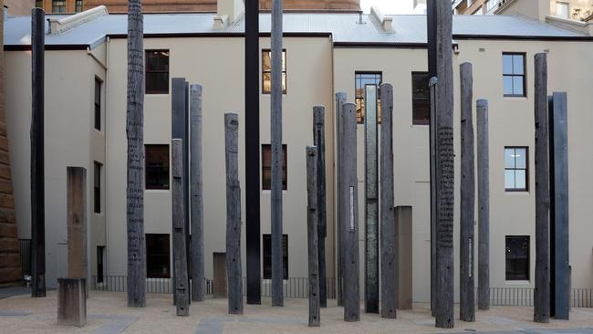 One of artist Janet Laurence's most well-known works is 'Edge of the Trees' in front of the Museum of Sydney which she created with Fiona Foley.