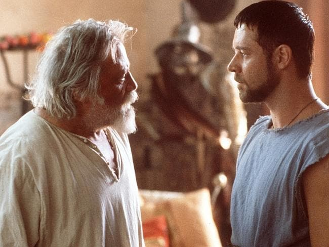 Actors Oliver Reed and Russell Crowe in 2000 film 'Gladiator'.