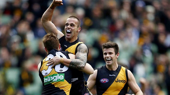 Jake King celebrates after kicking a superb goal during the third quarter against Fremantle. Picture: Michael Klein