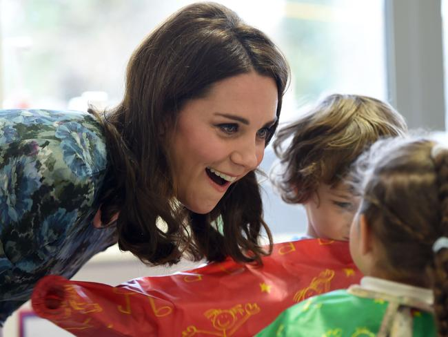 The Duchess got a warm welcome from students in Feltham. Picture: AFP