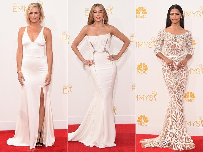 Ladies are all white ... Kristen Wiig, Sofia Vergara and Camila Alves. Pictures: Getty