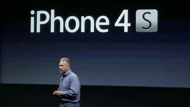 Apple Phil Schiller talks about iPhone 4S during announcement at Apple headquarters in Cupertino, California. Picture: AP