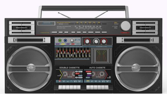 Black Boombox Front View. Clipping Path