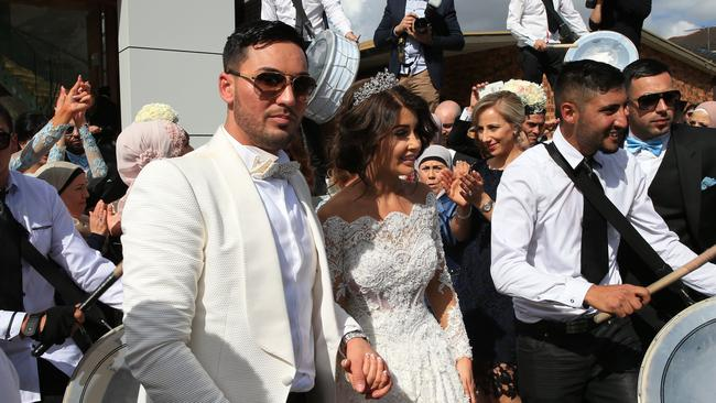 Deputy Auburn Mayor Salim Mehajer holds his lavish wedding in Lidcombe which involved four helicopters, 30 super cars, 50 motorbikes, a jet flyover and over 100m of red carpet. Picture: Toby Zerna